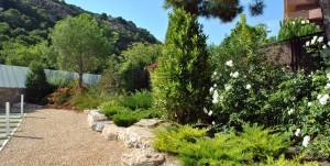 Imagen de jardín mediterraneo con laurel y rosas