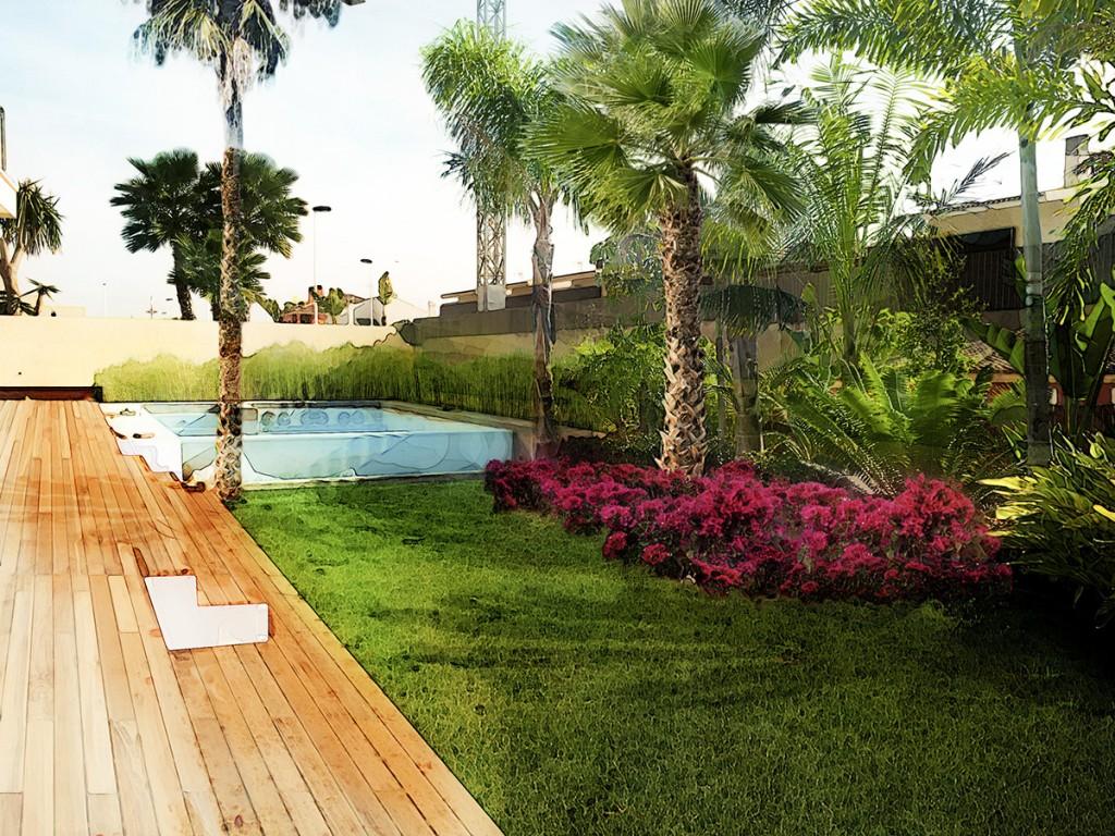 Dise o de jard n subtropical en elche david jim nez arquitectura y paisajismo en madrid - Paisajismo diseno de jardines ...