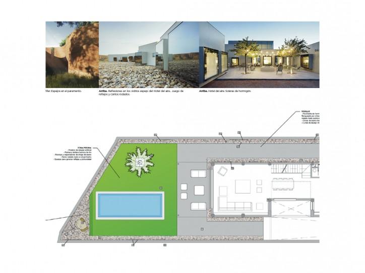 Plano de diseño de jardin minimalista